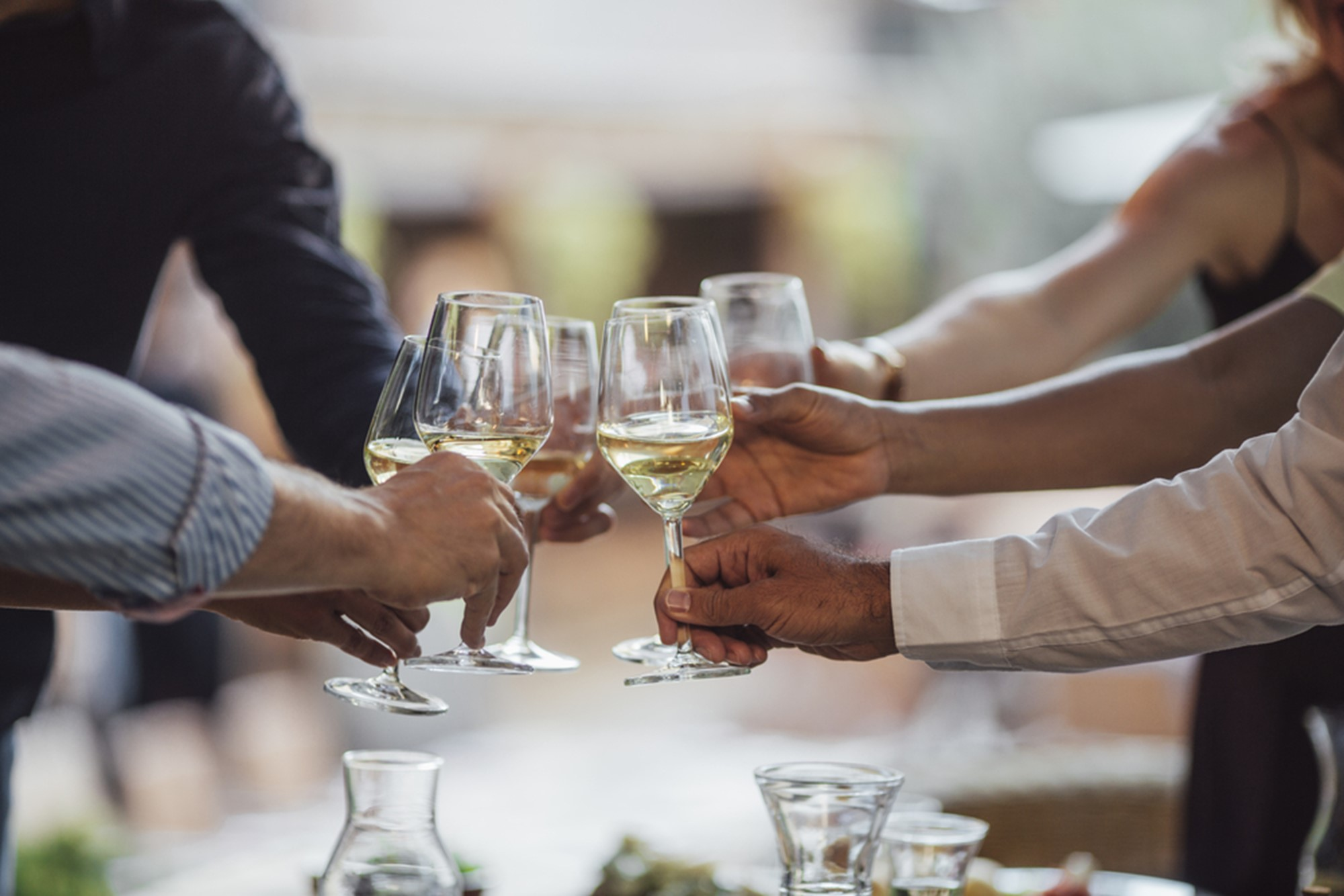 hands of group of people cheering with wine at outdoor celebration